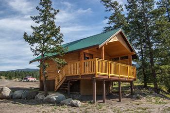 Cabin exterior at The Wilderness Way Adventure Resort.