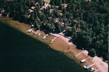 Aerial view of resort at Black Pine Beach Resort.
