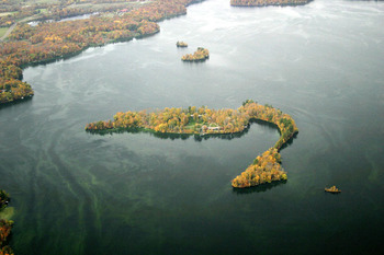 Aerial view of Stout's Island Lodge.
