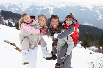 Family skiing near Solara Resort & Spa.