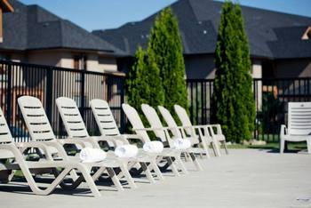 Pool chairs at Bighorn Meadows Resort.