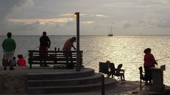 Family fishing at Coral Bay Resort.