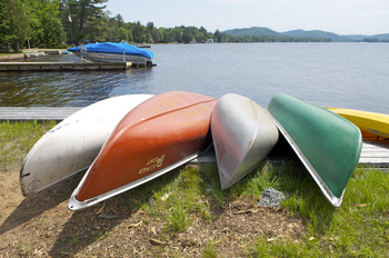 Canoes at Palmer Point Cottages.