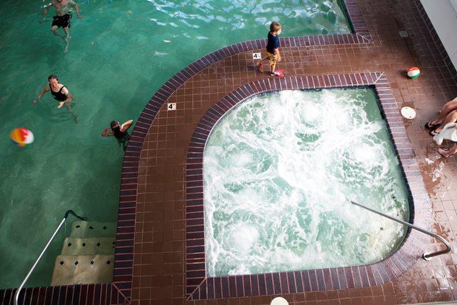 Indoor pool at Hallmark Resort in Newport.