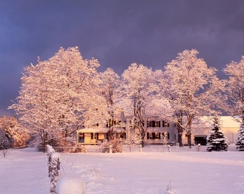 Winter dawn - Farm by the River Bed & Breakfast with stables- snowshoe or take a sleigh or horseback ride-right outside your door on 70 acres with panoramic mountain views.