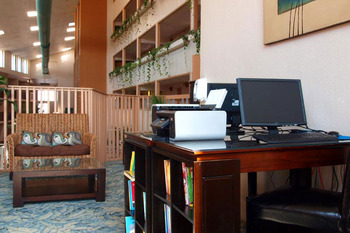 Business center and children's play area at Quality Inn Oceanfront Ocean City.