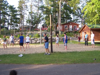 Volleyball court at Isle O' Dreams Lodge.