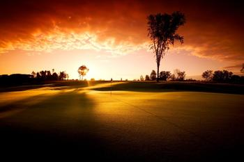 Course at sunset at Yarrow Golf Resort.