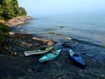 Kayaks at Solbakken Resort.