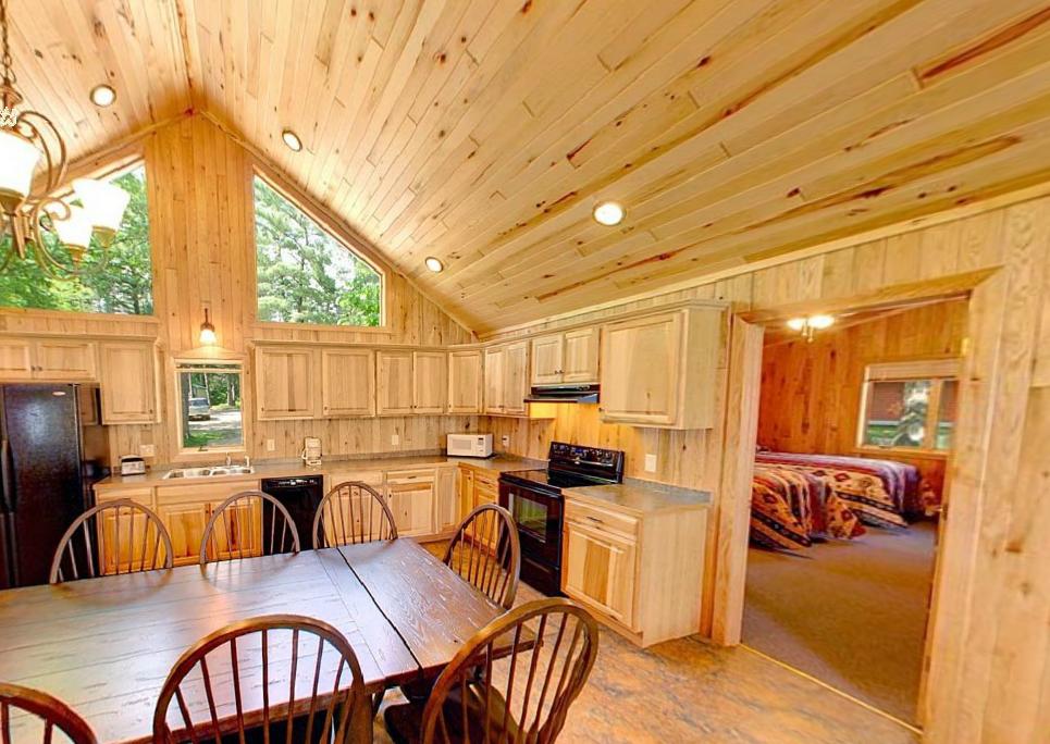 Cabin kitchen at Hiawatha Beach Resort.