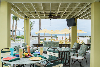 Outdoor dining patio at Sirata Beach Resort.