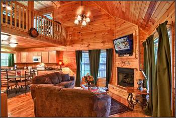 Cabin living room at Bear Camp Cabins.