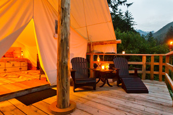 Deck view at Clayoquot Wilderness Resort.