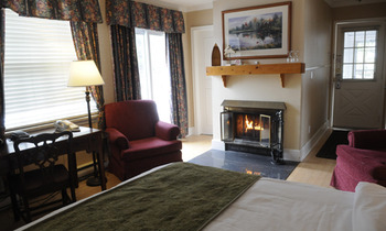 Fireplace bedroom at Sherwood Inn.