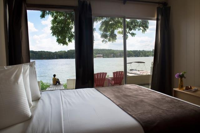Lake view at Delton Oaks Resort.