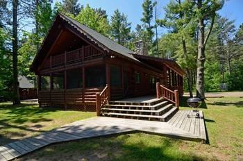 Cabin exterior at Grand Pines Resort.