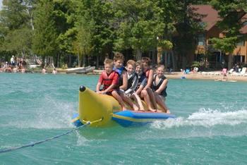 Water activities at White Birch Lodge.