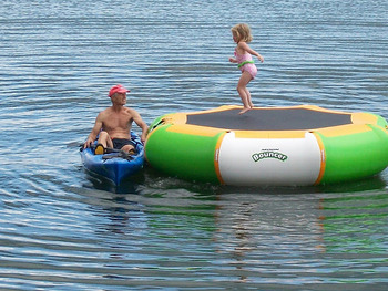 Lake trampoline at Fair Hills Resort.