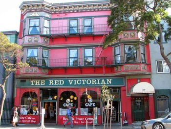 Exterior view of Red Victorian Inn.