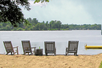 The beach at Mill Lake Resort.