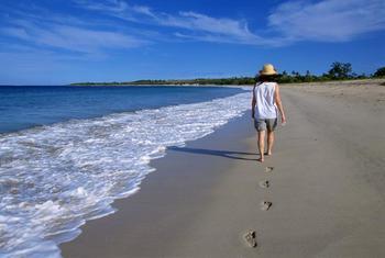 Walking on the beach at Natadola Resort.