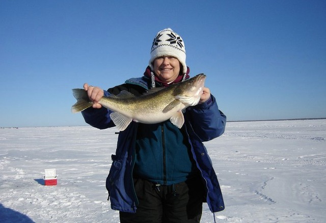 Ice fishing at McQuoid's Inn & Event Center.