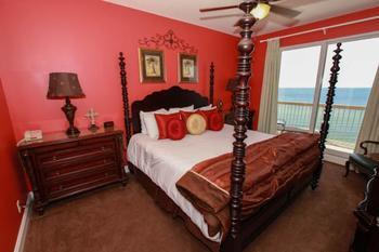 Guest bedroom at Calypso Resort & Spa.