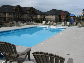 Pool view at Bighorn Meadows Resort.