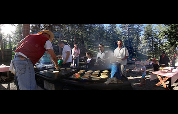 Family reunions at Glacier Lodge.