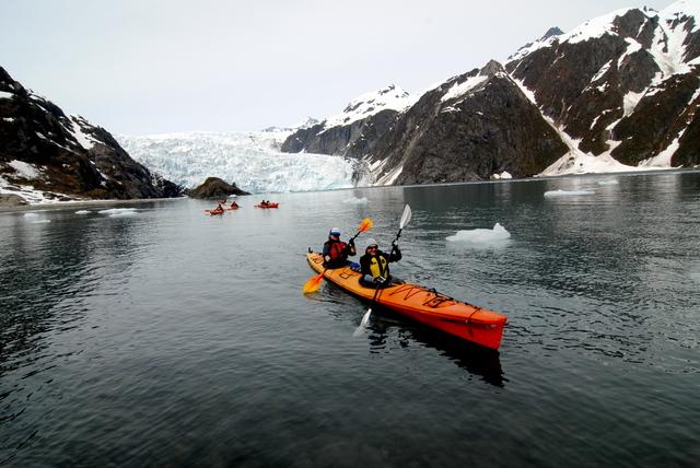 Kayaking through glaciers at Great Alaska Adventure Lodge.