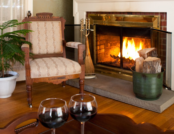 Relax by the fire at Eagles Mere Inn.
