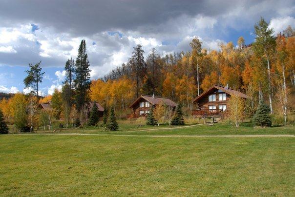 Exterior view of cabins at Vista Verde Ranch.