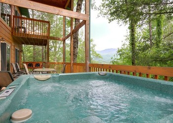 Hot tub view from one of our beautiful cabins in the Smokies