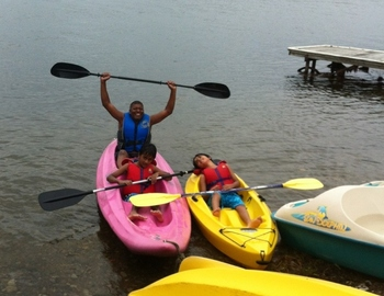 Kayaking at Elmhirst's Resort.