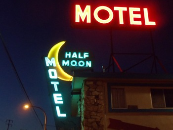 Exterior view of Half Moon Motel.