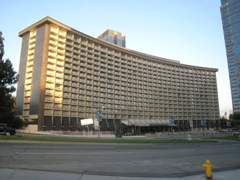 Exterior view of Century Plaza Hotel and Tower.