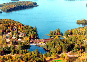 Aerial view of Lakewoods Resort.