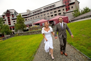 Wedding couple at Alyeska Resort.