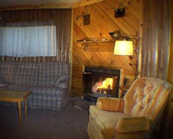 Cabin living room at Evergreen Lodge.