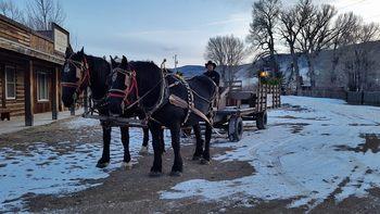 Holiday wagon at Vee Bar Guest Ranch.