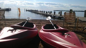 Kayaks at Appeldoorn's Sunset Bay Resort.