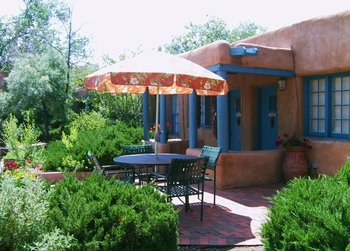 Exterior with patio at Pueblo Bonito.