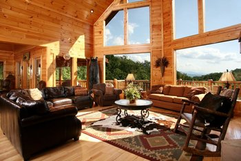 Rental living room at Jackson Mountain Homes.