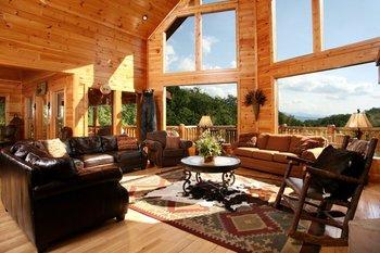 Rental living room at Jackson Mountain Homes.