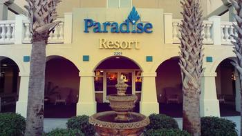 Front entrance at Paradise Resort.