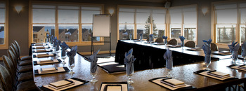 Conference table at Bluefin Bay on Lake Superior.