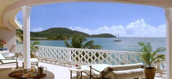 Balcony view at Curtain Bluff Resort.