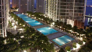 Outdoor pools at Viceroy Miami.