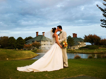 Wedding settings at Kingsmill Resort.