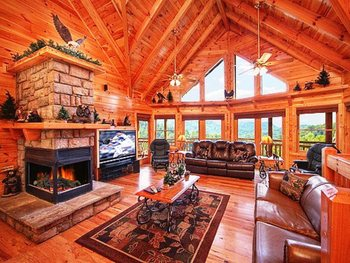 Cabin living room at Alpine Mountain Chalets.